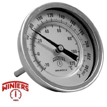 Termometro bimetalico Ø 75 mm Inoxidable  0 a 600 ºC Posterior.